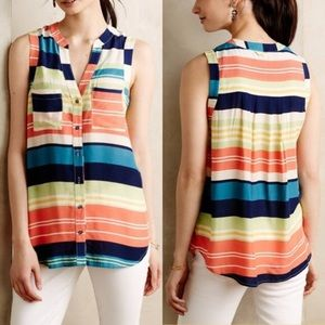 Anthropologie Maeve Colorblock Blouse multi stripe